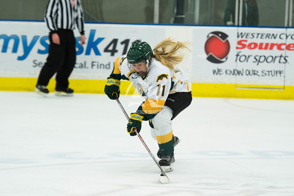 1st year forward Martina Maskova (11) of the Regina Cougars in action during the Women's Hockey Homeopener on October 7 at Co-operators arena. Credit: Arthur Ward/Arthur Images