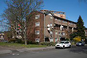 Local atmosphere due to Coronavirus lockdown is felt on a street by street level as streets remain deserted near the tower blocks of flats in Lozells and east Handsworth as people observe the stay at home advice from the government on 7th April 2020 in Birmingham, England, United Kingdom. Coronavirus or Covid-19 is a new respiratory illness that has not previously been seen in humans. While much or Europe has been placed into lockdown, the UK government has announced more stringent rules as part of their long term strategy, and in particular social distancing.