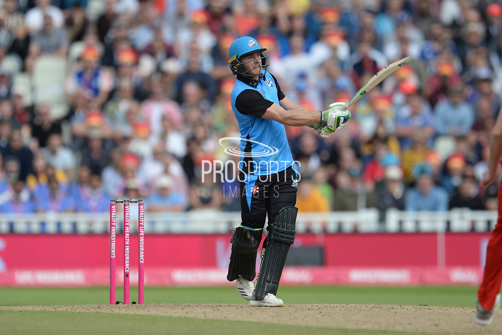 Ben Cox of Worcestershire Rapids hits a six during the Vitality T20 Finals Day Semi Final 2018 match between Worcestershire Rapids and Lancashire Lightning at Edgbaston, Birmingham, United Kingdom on 15 September 2018.