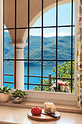 interior of old house, nice window overlooking the lake