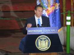 August 17, 2017 - New York City, New York, United States - New York Governor Andrew Cuomo speaks at Moynihan Train Hall in Penn Station in New York, NY on August 17, 2017. (Credit Image: © Kyle Mazza/NurPhoto via ZUMA Press)