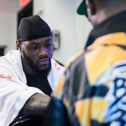 Deontay Wilder gets his hands wrapped prior to the WBC Heavyweight Championship boxing match against Luis Ortiz at Barclays Center on Saturday, March 3, 2018 in Brooklyn, New York. (Alex Menendez via AP)