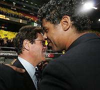 Fotball<br /> Spania La laiga<br /> 10.03.2007<br /> Barcelona v Real Madrid 3-3<br /> Foto: Miguelez/Digitalsport<br /> NORWAY ONLY<br /> <br /> Trener Fabio Capello (Real Madrid, tv) og Trener Frank Rijkaard (FC Barcelona)