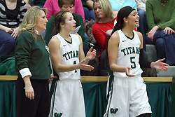 21 February 2015: Mia Smith with Rebekah Ehresman and Kasey Reaber  during an NCAA women's division 3 CCIW basketball game between the Elmhurst Bluejays and the Illinois Wesleyan Titans in Shirk Center, Bloomington IL