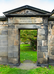 Graveyard of  Canongate Kirk on the Royal Mile ( High Street) in Old Town of Edinburgh, Scotland, UK