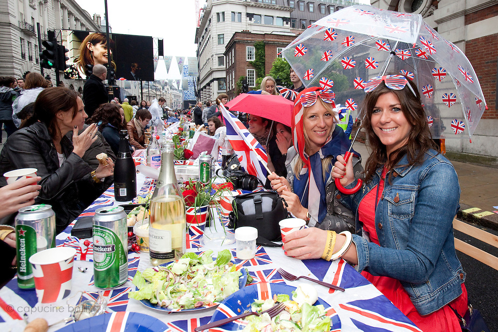 "London, United Kingdom. June 3rd 2012..Queen Elizabeth II Diamond Jubilee 1952-2012.At  the ""Big Lunch"" on Piccadilly"