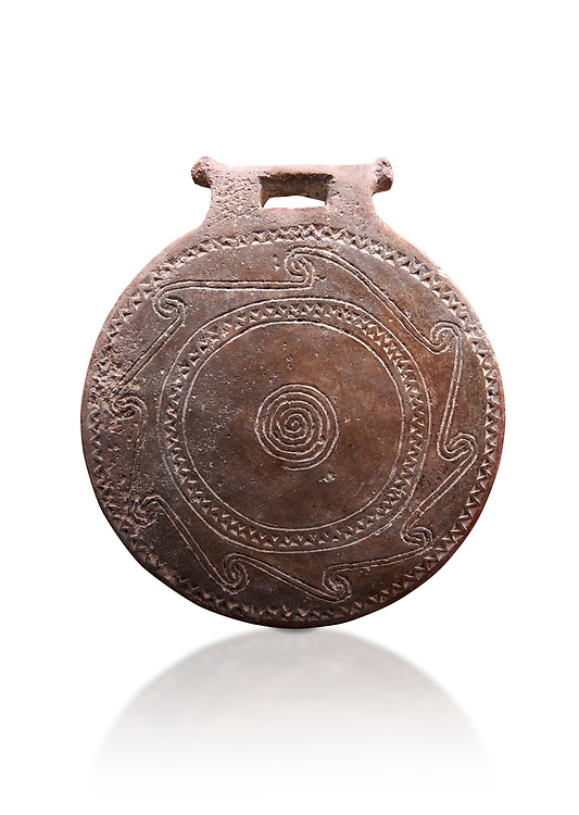 Cucladic Syros style decorated terra cotta frying pan . Early Cycladic Period II, (2800-2300 BC), Museum of Cycladic Art Athens,  cat no 971.  Against white.
