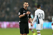 Referee Michael Oliver looking on. Premier league match, West Ham Utd v West Bromwich Albion at the London Stadium, Queen Elizabeth Olympic Park in London on Saturday 11th February 2017.<br /> pic by John Patrick Fletcher, Andrew Orchard sports photography.