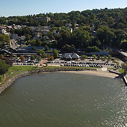Aerial view of McKellar Cove and Dobbs Ferry train station. Aerial and street views of Dobbs Ferry, NY.
