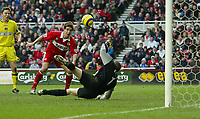 Photo Aidan Ellis.<br /> Middlesbrough v Charlton Athletic.<br /> FA Barclays Premiership.<br /> 27/02/2005.<br /> Charlton keeper Dean Keily saves the first shot but the ball drops to Boro's Chris riggott who scores the equaliser