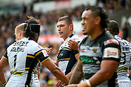 Leeds Rhinos left wing Ryan Hall (5) scores a try and celebrates to make the score 6-10 during the Challenge Cup 2017 semi final match between Hull RFC and Leeds Rhinos at the Keepmoat Stadium, Doncaster, England on 29 July 2017. Photo by Simon Davies.