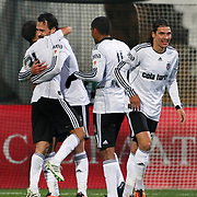 Besiktas's Hugo ALMEIDA (2ndL) celebrate his goal with team mate during their Turkey Cup Group B matchday 5 soccer match Besiktas between Trabzonspor at the Inonu stadium in Istanbul Turkey on Wednesday 26 January 2011. Photo by TURKPIX