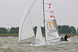 08_004346 © Sander van der Borch. Medemblik - The Netherlands,  May 25th 2008 . Sebbe Godefroid and Carolijn Brouwer sailing just after the finish of the medal race of the Delta Lloyd Regatta 2008.