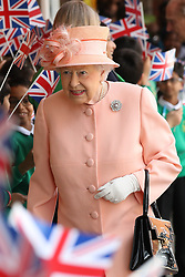 June 13, 2017 - Slough, United Kingdom - Image licensed to i-Images Picture Agency. 13/06/2017. Slough, United Kingdom.  The Queen and The Duke of Edinburgh arriving at Slough railway station, United Kingdom, to mark the 175th anniversary of the first train journey by a British monarch. The Queen and the Duke  travelled  from Slough to London Paddington on a Great Western Railway train, recreating the historic journey made by Queen Victoria on 13th June 1842.  Picture by Stephen Lock / i-Images (Credit Image: © Stephen Lock/i-Images via ZUMA Press)