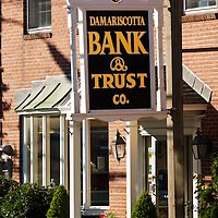 Main Street - US Highway 1 frontage sign for the Damariscotta Bank and Trust.
