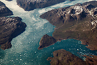 Aerial view of a few fjords in Southern Greenland. Taken from about 35,000 feet, we can see the incredible mass that is this area.