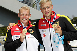 22.08.2015, Mailand, ITA, Kanu WM 2015, im Bild Max Rendschmidt (Essen) und Marcus Gross (Berlin) werden in Mailand Weltmeister im KII 1.000m // during the 2015 canoe world championship at Mailand, Italy on 2015/08/22. EXPA Pictures © 2015, PhotoCredit: EXPA/ Eibner-Pressefoto/ Freise<br /> <br /> *****ATTENTION - OUT of GER*****