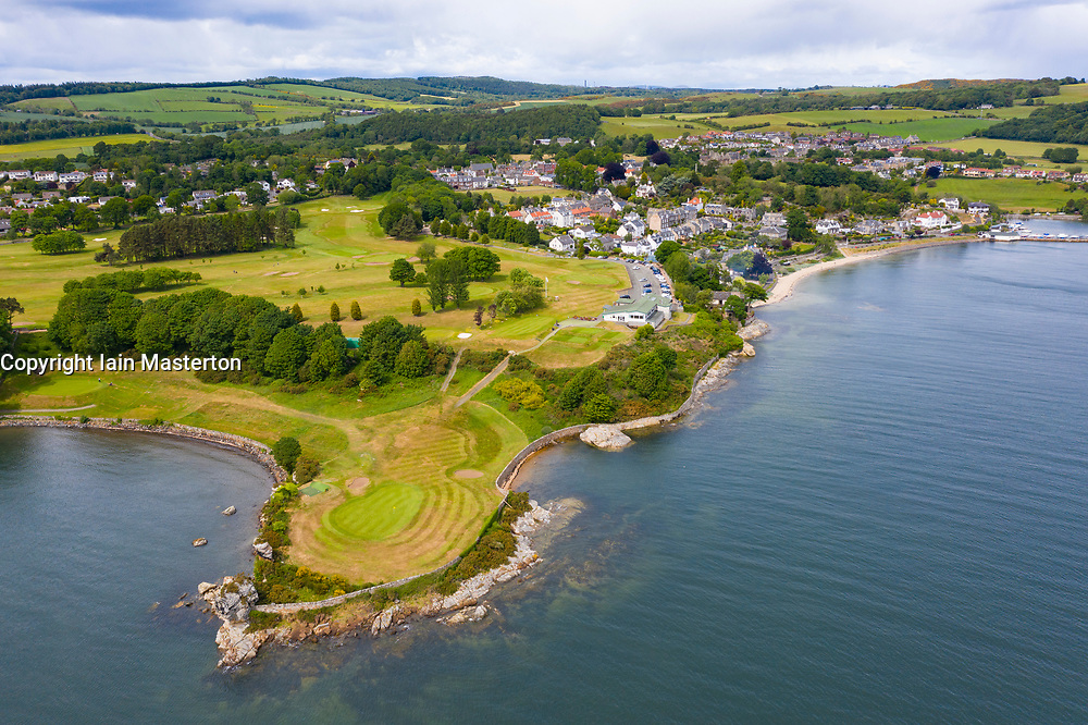 Aerial view of Aberdour Golf Course and village of Aberdour in Fife, Scotland, UK