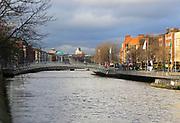 Halfpenny bridge north bank River Liffey city centre, Dublin, Ireland, Irish Republic
