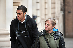 © Licensed to London News Pictures. 04/08/2015. Bristol, UK.  Defendant Karl Demetrius (left) arrives for the Plea Hearing in the Becky Watts murder trial at Bristol Crown Court.  Photo credit : Simon Chapman/LNP