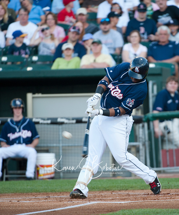 New Hampshire Fisher Cats first baseman Mike McDade at the plate during Saturday's game with the Portland Sea Dogs.  (Karen Bobotas/for the Concord Monitor)