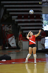 18 AUG 2007: Amy Olson serves. The Illinois State Redbirds, picked for 5th in the pre-season Missouri Valley Conference coaches poll, prepare for the beginning of the season during the annual Red/White inter-squad scrimmage at Redbird Arena in Normal Illinois.