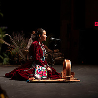 For her traditional talent Kiana Boyd tells the Navajo story of the cradle board at the Gallup Inter-Tribal Ceremonial Queen competition at the El Morro Theatre, Thursday, August 9, 2018.