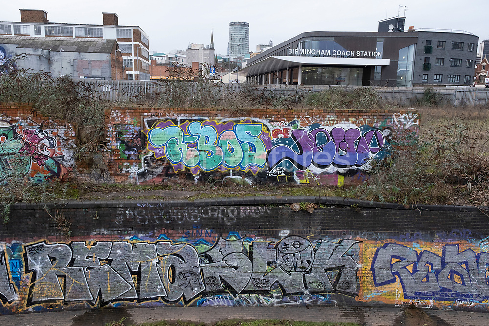 Remnants of old brick industrial buildings in derelict condition in the area of Deritend / Digbeth which is an area very close to the city centre undergoing regeneration / redevelopment on 18th January 2020 in Birmingham, United Kingdom. Birmingham is still very much an industrial city both current and past, with many of these works buildings incredibly close to the city centre. Despite the ongoing Big City Plan, a large redevelopment scheme that will regenerate the old industrial buildings into apartments, retail premises, offices and arts facilities, there is still a great deal of industrial activity in the area.