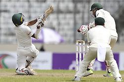 August 29, 2017 - Mirpur, Dhaka, Bangladesh - Bangladesh's Taijul Islam plays a shot during the third day od 1st test match between Bangladesh against Australia in Mirpur, Dhaka, Bangladesh. (Credit Image: © Ahmed Salahuddin/NurPhoto via ZUMA Press)