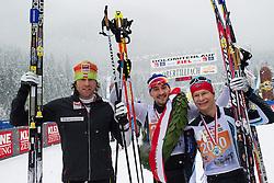 17.01.2015, Loipe Obertilliach, AUT, 41. Dolomitenlauf, Classicrace, im Bild v.l.n.r. Zweiter Thomas Steurer (AUT), Erster Eric Thomas (GER) und Dritter Stein Joks (NOR) // f.l.t.r. 2nd place Thomas Steurer from Austria, Winner Eric Thomas from Germany and 3rd place Stein Joks from Norway during the 41st Dolomitenlauf Classicrace at Obertilliach, Austria on 2015/01/17, EXPA Pictures © 2015 PhotoCredit: EXPA/ Michael Gruber