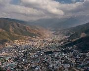 Aerial view over Thimpu, capital of Bhutan.