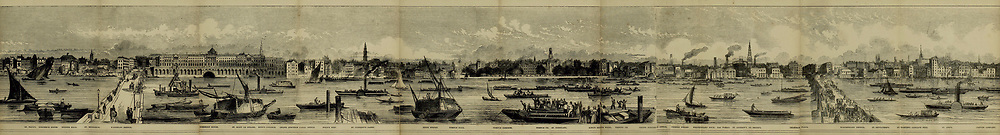 Part 2 of 5 of The Grand panorama of London from the Thames Published in London by Charles Evans. This remarkable engraving, twelve feet in length, may be taken as a specimen of the gifts presented without charge to the subscribers to the Pictorial times, family illustrated newspaper; as a print it is unequalled in the history of wood engraving, and is alike valuable as a work of art and as an historical record of the appearance of the great metropolis, seen from the Thames in 1844.