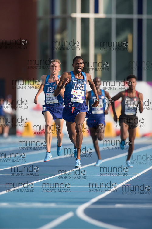 Toronto, ON -- 11 August 2018: Hassan Mead (USA), gold 5000m at the 2018 North America, Central America, and Caribbean Athletics Association (NACAC) Track and Field Championships held at Varsity Stadium, Toronto, Canada. (Photo by Sean Burges / Mundo Sport Images).