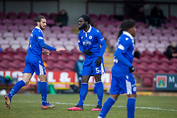 06MAR21 Queen of the South's Ayo Obileye celebrates after scoring their first goal. Arbroath 2 v 4 Queen of the South, Scottish Championship played 6/3/2021 at Arbroath's home ground, Gayfield Park.
