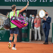 PARIS, FRANCE June 11. Rafael Nadal of Spain acknowledges the fans as he leaves the court after his loss to Novak Djokovic of Serbia on Court Philippe-Chatrier during the semi finals of the singles competition at the 2021 French Open Tennis Tournament at Roland Garros on June 11th 2021 in Paris, France. (Photo by Tim Clayton/Corbis via Getty Images)