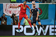 Nacer Chadli of Belgium battles with Olivier Giroud of France during the 2018 FIFA World Cup Russia, Semi Final football match between France and Belgium on July 10, 2018 at Saint Petersburg Stadium in Saint Petersburg, Russia - Photo Thiago Bernardes / FramePhoto / ProSportsImages / DPPI