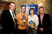 """19/7/2011.  Dermot O Connell Ulster Bank, Dominic Tighe, Propeller,   Caroline Miney, Ulster Bank and Brendan McDermott, Ulster Bank in McSwiggans for the pre show reception of Propeller's """"Comedy of Errors"""" by Shakspeare in the Galway Arts Festival, sponsored by Ulster Bank. Photo:Andrew Downes"""