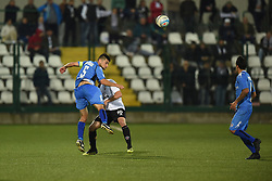 November 3, 2018 - Vercelli, Italy - Italian midfielder Nicolas Schiavi from Novara Calcio team playing during Saturday evening's match against Pro Vercelli team valid for the 10th day of the Italian Lega Pro championship and Italian midfielder Massimiliano Gatto from Pro Vercelli team playing during Saturday evening's match against Novara Calcio valid for the 10th day of the Italian Lega Pro championship  (Credit Image: © Andrea Diodato/NurPhoto via ZUMA Press)