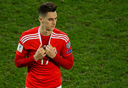 CARDIFF, WALES - Monday, October 9, 2017: Wales' Tom Lawrence reacts at the final whistle during the 2018 FIFA World Cup Qualifying Group D match between Wales and Republic of Ireland at the Cardiff City Stadium. (Pic by Peter Powell/Propaganda)