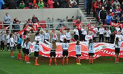 Junior players from Portishead Town FC wave flags at Ashton Gate Stadium - Mandatory by-line: Paul Knight/JMP - 01/10/2016 - FOOTBALL - Ashton Gate Stadium - Bristol, England - Bristol City v Nottingham Forest - Sky Bet Championship