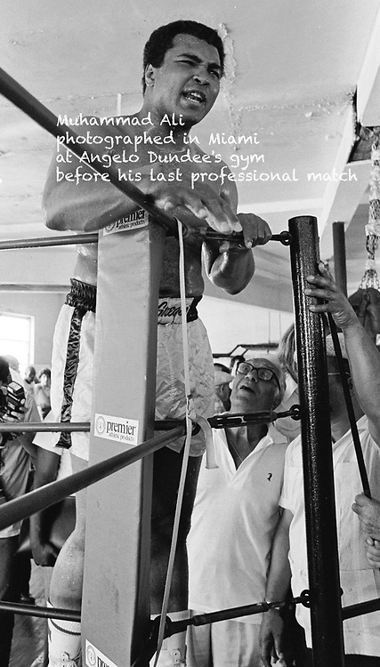 Muhammad Ali, photographed in Miami in Angelo Dundee's gym before his last professional match