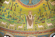 Mosaic of St Appolinaire with sheep. 6th century AD Byzantine Roman Mosaics of the Basilica of Sant'Apollinare in Classe, Ravenna Italy. A UNESCO World Heritage Site. .<br /> <br /> Visit our BYZANTINE MOSAIC PHOTO COLLECTION for more   photos  to download or buy as prints https://funkystock.photoshelter.com/gallery/Byzantine-Eastern-Roman-Style-Mosaics-Pictures-Images/G0000NvKCna.AoH4/3/C0000YpKXiAHnG2k<br /> <br /> If you prefer to buy from our ALAMY PHOTO LIBRARY  Collection visit : https://www.alamy.com/portfolio/paul-williams-funkystock/san-apollinaire-classe-ravenna.html