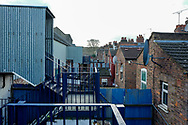 General view outside the Kenilworth Road stadium showing the old wrought iron staircases before the EFL Sky Bet League 1 match between Luton Town and Wycombe Wanderers at Kenilworth Road, Luton, England on 9 February 2019.