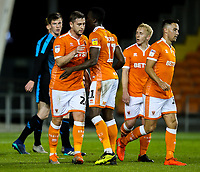 Blackpools Steve Davies celebrates scoring with teammates<br /> <br /> Photographer Alex Dodd/CameraSport<br /> <br /> The EFL Checkatrade Trophy Northern Group C - Blackpool v West Bromwich Albion U21 - Tuesday 9th October 2018 - Bloomfield Road - Blackpool<br />  <br /> World Copyright © 2018 CameraSport. All rights reserved. 43 Linden Ave. Countesthorpe. Leicester. England. LE8 5PG - Tel: +44 (0) 116 277 4147 - admin@camerasport.com - www.camerasport.com