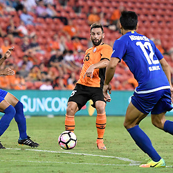 BRISBANE, AUSTRALIA - JANUARY 31: Arana of the Roar passes the ball during the second qualifying round of the Asian Champions League match between the Brisbane Roar and Global FC at Suncorp Stadium on January 31, 2017 in Brisbane, Australia. (Photo by Patrick Kearney/Brisbane Roar)