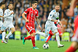 May 2, 2018 - Madrid, Spain - MADRID, SPAIN. May 1, 2018 - James Rodriguez with the ball. With a 2-2 draw against Bayern Munchen, Real Madrid made it to the UEFA Champions League Final for third time in a row. Kimmich and James scored for the german squad while Karim Benzema did it twice for los blancos. Goalkeeper Keylor Navas had a great night with several decisive interventions. (Credit Image: © VW Pics via ZUMA Wire)