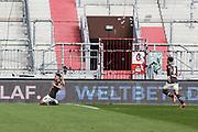 Fussball: 2. Bundesliga, FC St. Pauli - Würzburger Kickers, Hamburg, 17.04.2021<br /> Jubel von Toschuetze Omar Marmoush (Pauli,, l.)<br /> © Torsten Helmke