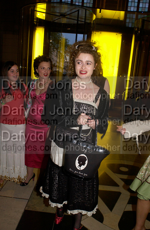 Helena Bonham-Carter . Party to celebrate the publication of 'Put On Your Pearl Girls!' by Lulu Guinness at the V&A museum, London. 5 May 2005. ONE TIME USE ONLY - DO NOT ARCHIVE  © Copyright Photograph by Dafydd Jones 66 Stockwell Park Rd. London SW9 0DA Tel 020 7733 0108 www.dafjones.com