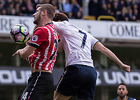 Football - 2016 / 2017 Premier League - Tottenham Hotspur vs. Southampton<br /> <br /> Jack Stephens of Southampton and Heung-Min Son of Tottenham compete for the header at White Hart Lane.<br /> <br /> COLORSPORT/DANIEL BEARHAM