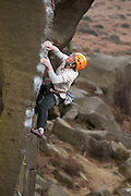 Ben Bransby making a ground-up ascent of Balance it is, E7, Burbage South